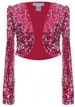 Anna-Kaci donna lucido lustrini manica lunga ritagliata Blazer bolero Coprispalle Rose Red L