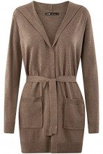 oodji Ultra Donna Cardigan con Cintura e Tasche Applicate, Marrone, IT 44 / EU 40 / M