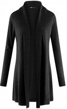 oodji Collection Donna Cardigan Lungo a Cascata, Nero, IT 42 / EU 38 / S