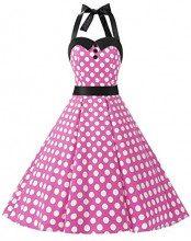 Dressystar, vestito a fiori da cocktail party con fascia in vita, stile retrò/rockabilly anni '50 - '60 pink white dot Large