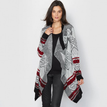 Cardigan lungo, maglia jacquard