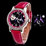 Time100 Orologio Donna Automatico Luminosità Cinturino in Pelle Water Resistant Serie Costellazione di Zodiaco