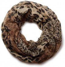 styleBREAKER sciarpa scaldacollo con stampa leopardata 01017009, colore:Marrone