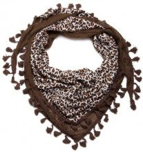 styleBREAKER Sciarpa triangolare con motivo leopardo con nappine 01020038, colore:Marrone