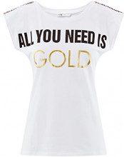 oodji Ultra Donna T-Shirt con Stampa e Finitura Decorativa sulle Spalle, Bianco, IT 38 / EU 34 / XXS