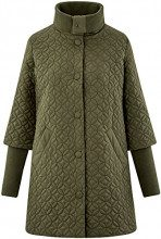 oodji Collection Donna Cappotto Trapuntato con Collo Alto, Verde, IT 42 / EU 38 / S