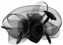 EEVASS Capelli Clip con Piuma del Partito Donne Fascinator Cappello per Accessori di Nuziale del Cocktail (Nero)