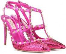 Valentino Garavani Rockstud sequinned leather pumps