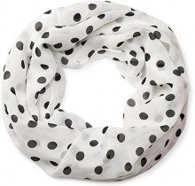 styleBREAKER Sciarpa a tubo con fantasia a pois, leggera e setosa, foulard, donna 01016111, colore:Bianco-Nero