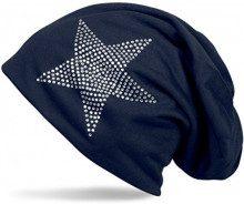 styleBREAKER cuffia beanie classica unisex con applique di strass e stelle, leggera 04024019, colore:Blu scuro