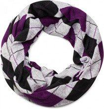 styleBREAKER sciarpa scaldacollo in maglia fine con motivo classico a quadri dal look vintage melange, sciarpa, unisex 01018083, colore:Grigio-Nero-Viola