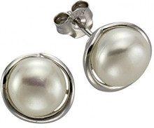 ZEEme 378220007-Orecchini a perno da donna in argento Sterling 925 placcato al rodio, con perle