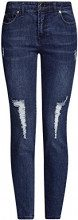 oodji Ultra Donna Jeans Cropped Strappati, Blu, 28W / 30L (IT 44 / EU 40 / M)