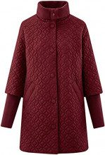 oodji Collection Donna Cappotto Trapuntato con Collo Alto, Rosso, IT 44 / EU 40 / M