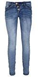 Blue Jeans taglio Skinny Fit di Rock Angel: jeans a sigaretta da donna, 5 tasche con abbottonatura obliqua per una vestibilità perfetta