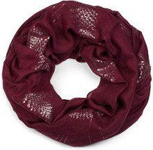 styleBREAKER Sciarpa a tubo da donna con stampa di felci e foglie metallizzate, sciarpa scaldacollo, foulard 01017083, colore:Bordò-Rosso