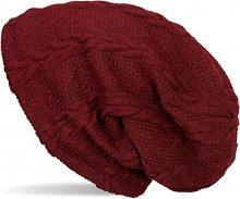 styleBREAKER calda cuffia beanie a maglia fine con motivo intrecciato e rivestimento interno in pile, slouch longbeanie, unisex 04024131, colore:Bordò-Rosso