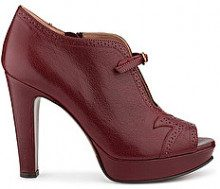TRONCHETTO LOW BOOT BROGUE IN PELLE BORDEAUX