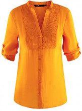 oodji Collection Donna Tunica con Scollo a V, Arancione, IT 40 / EU 36 / XS