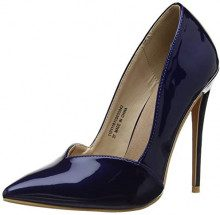Lost Ink Talulah Sweetheart Cut Court Shoe, Scarpe col Tacco Punta Chiusa Donna, Blue (Dark Navy 0042), 37 EU