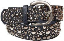styleBREAKER cintura borchiata in stile vintage, ampia cintura con borchie e strass, cintura glitter, accorciabile, donna 03010020, colore:105cm, colore:Blu scuro
