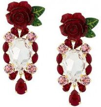 Dolce & Gabbana rose and crystal drop earrings