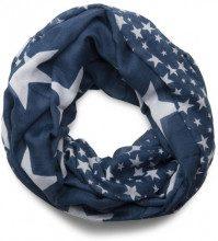 styleBREAKER sciarpa scaldacollo con motivo a stelle, stelle grandi e piccole, unisex 01016057, colore:Blu scuro