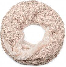 styleBREAKER calda sciarpa scaldacollo in maglia con motivo intrecciato e morbidissimo rivestimento interno in pile, sciarpa ad anello, unisex 01018150, colore:Beige