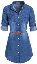 SS7 -  Vestito - Vestito - Maniche lunghe - Donna Denim Blue 42