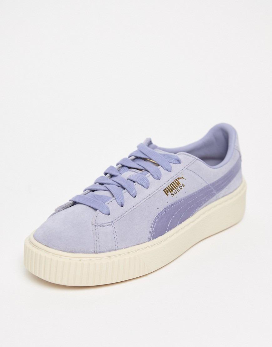5c701ceae7dd3 Sneakers con plateau in raso e camoscio lavanda