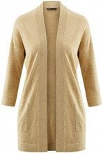 oodji Collection Donna Cardigan Aperto con Tasche, Beige, IT 42 / EU 38 / S