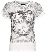 oodji Collection Donna Blusa Stampata Multimateriale, Bianco, IT 40 / EU 36 / XS