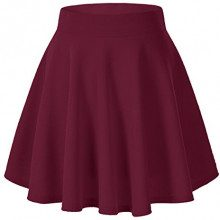 Urban GoCo Donna Moda Svasata Mini Gonna da Pattinatrice Versatile Elastica Solida Colore Gonna Vino rosso XS