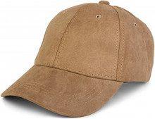 styleBREAKER berretto a 6 pannelli in pelle scamosciata, effetto scamosciato, berretto da basebalol, regolabile, unisex 04023049, colore:Marrone chiaro