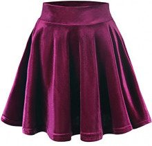 Urban GoCo Donna Vintage Svasata Mini Gonna da Pattinatrice Versatile Elastica di Velluto Gonna Vino Rosso L