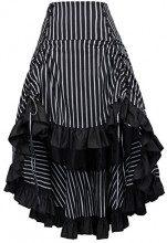Belle Poque Donne Steampunk Costume Gotico Vintage Gonna Amelia Steampunk–Vestito a Volant in Vita Bp347 Noir L