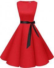 Bbonlinedress Women's Retro 1950s Vintage Swing Rockabilly Party Cocktail Dress Red XS