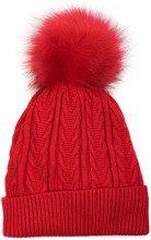 styleBREAKER calda cuffia a pon pon in maglia fine con motivo intrecciato, pon pon in pelliccia sintetica, cuffia invernale imbottita in maglia, unisex 04024100, colore:Rosso