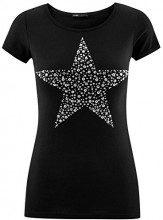 oodji Ultra Donna T-Shirt con Applique Stella in Strass, Nero, IT 42 / EU 38 / S