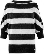 oodji Collection Donna Maglione in Mohair a Righe, Nero, IT 40 / EU 36 / XS