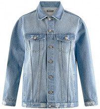 oodji Ultra Donna Giacca in Jeans Oversize, Blu, IT 38 / EU 34 / XXS