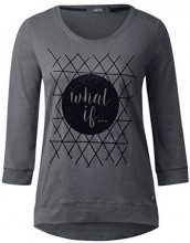 Cecil Flock Frontprint, T-Shirt Donna, Grau (Dark Silver 20126), X-Large