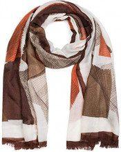 styleBREAKER Sciarpa da donna con motivo a linee grafiche e frange, stola, foulard 01017095, colore:Marrone-arancio-beige