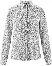 oodji Collection Donna Camicetta in Tessuto Fluido con Volant, Bianco, IT 46 / EU 42 / L