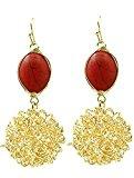 beyoutifulthings 1paio di orecchini da donna in acciaio inox Giallo con i bordi dorati con ciondolo zirconi, colore: rosso, lunghezza cavo: 5,4cm