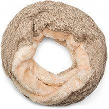 styleBREAKER calda sciarpa scaldacollo in maglia con motivo intrecciato e morbidissimo rivestimento interno in pile, sciarpa ad anello, unisex 01018150, colore:Marrone chiaro