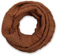 styleBREAKER sciarpa scaldacollo in maglia a quadri, sciarpa ad anello in maglia fine a tinta unita, sciarpa invernale in maglia, unisex 01018154, colore:Cognac