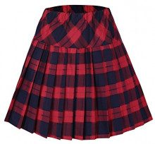 Urban GoCo Donna Versatile Plaid Pieghe Mini Gonna da Plissettata Vita Elastica Scozzese Gonna #5 Rosso 2XL