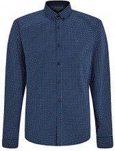 oodji Ultra Uomo Camicia Stampata Aderente, Blu, 37cm / IT 40 / EU 37 / XXS
