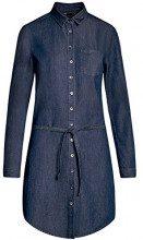 oodji Ultra Donna Abito in Jeans con Cinta e Tasca su Petto, Blu, IT 42 / EU 38 / S